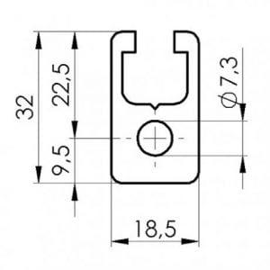18.5 x 32 Aluminium T slot extruded profile