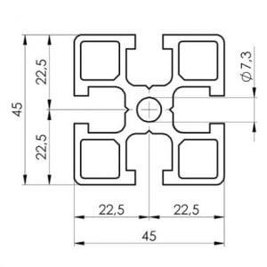 45 series T slot Aluminium Extrusion