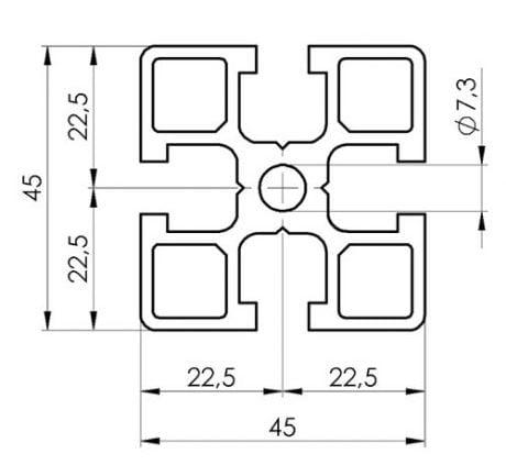 45 x 45 T slot ,T Rail aluminium extrusion