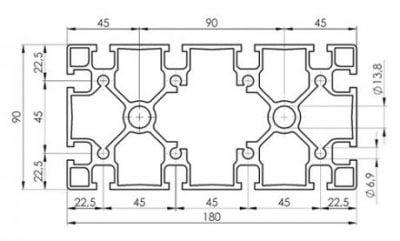 90 x 180 T slot extruded aluminium profile
