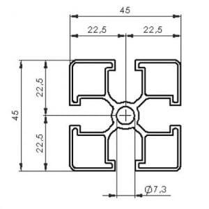 45 x 45 slim T Slot Extruded Profile