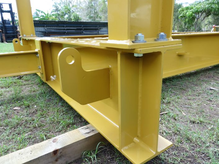 Yellow steel framing bolted
