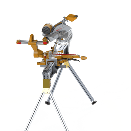 Portable Drop Saw Bench with saw side view