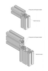 T-Slot extruded aluminium profile joints - Standard connection - aluminium extrusion