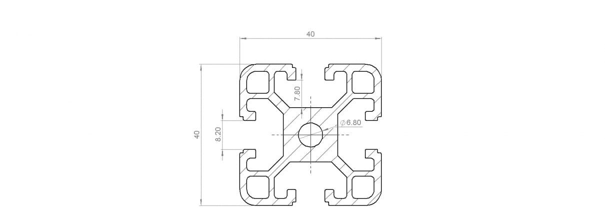 Dimension Drawing for T Slot extrusion