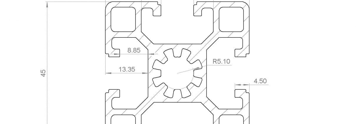 45x45 Aluminium Extrusion T Slot Profile