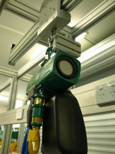 Workstation with integrated Aluminium extrusion crane