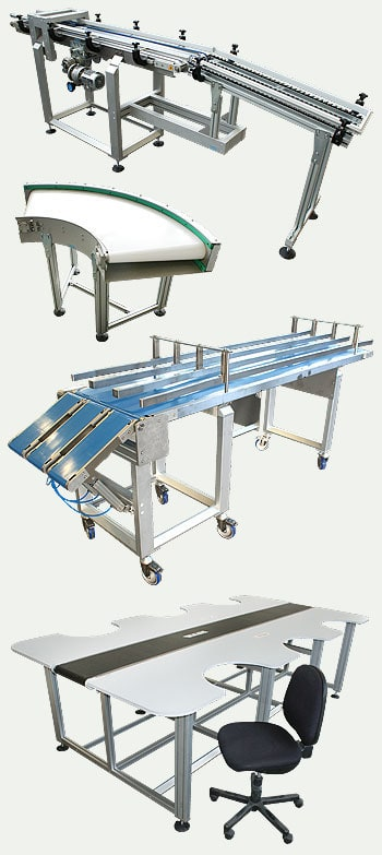 Aluminium T slot frame conveyors and workstations